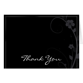 Modern Floral Medallion in Black Thank You card