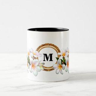 Modern floral monogram tow-tone coffee mug