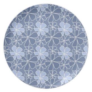 Modern Floral Pattern - Blue Dinner Plate