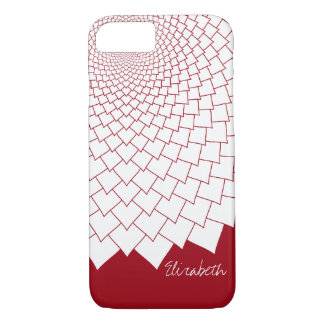 Modern Floral pattern - bold red and white iPhone 8/7 Case