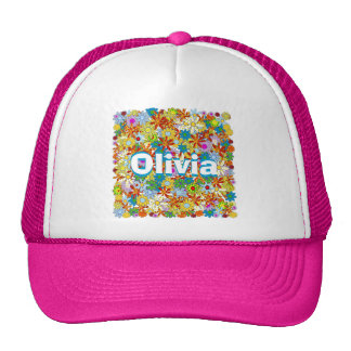 Modern Floral Pattern Bright Colors Mesh Hats