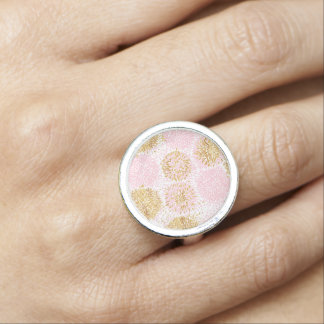 Modern floral pattern, gold,pink,white,chic,beauti photo rings