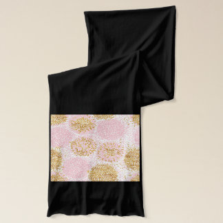Modern floral pattern, gold,pink,white,chic,beauti scarf