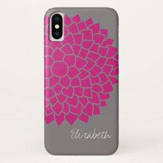 Modern Floral pattern - gray and pink iPhone X Case