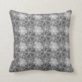 Modern Floral Pattern - Gray Pillow