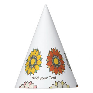 Modern Floral Pattern Holiday Party Hat
