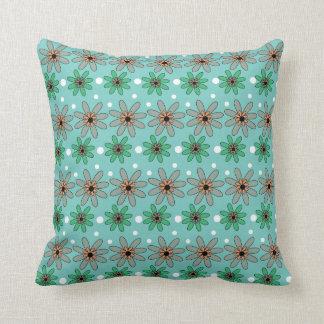 Modern Floral Pattern On Blue Pillows