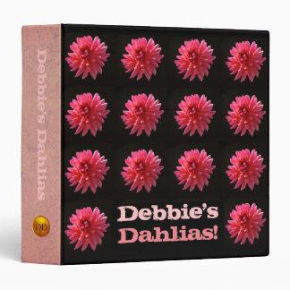 Modern Floral Pattern Pink Dahlia Garden Journal Vinyl Binders