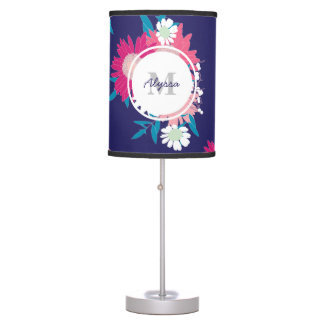 Modern Floral Patterned Personalized Lamp