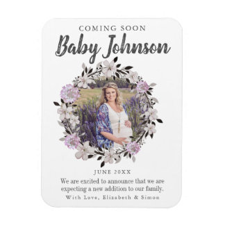 Modern Floral Photo Pregnancy Announcement Magnet