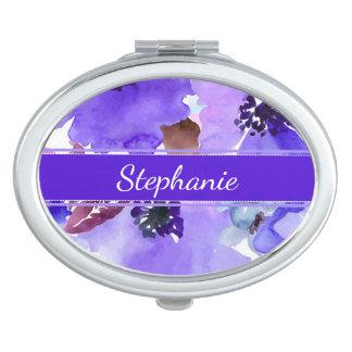 Modern Floral Purple Compact Mirror