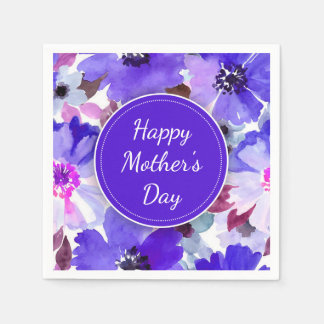 Modern Floral Purple Mother's Day Paper Napkins