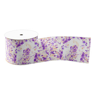 Modern floral purple peach watercolor peacock grosgrain ribbon