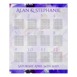 Modern Floral Purple Watercolor Seating Chart Poster