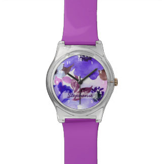 Modern Floral Purple Watercolor Watch