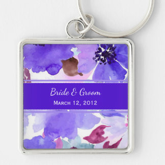 Modern Floral Purple Watercolor Wedding Keychain