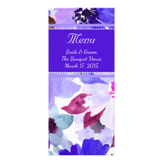 Modern Floral Purple Watercolor Wedding Menu Custom Rack Cards