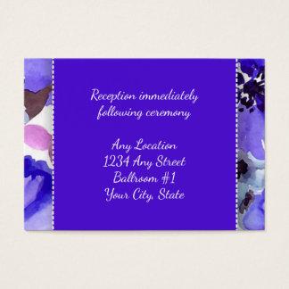 Modern Floral Purple Watercolor Wedding Reception Business Card