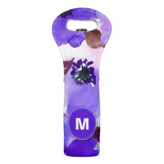 Modern Floral Purple Watercolor Wine Bag
