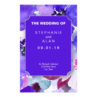 Modern Floral Purple Wedding Programs