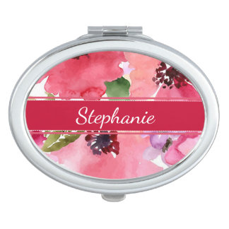 Modern Floral Red Compact Mirror