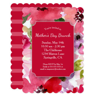 Modern Floral Red Mother's Day Brunch Party Card