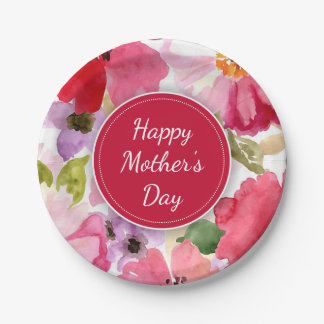 Modern Floral Red Mother's Day Paper Plates
