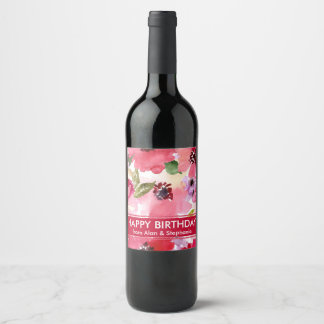Modern Floral Red Watercolor Birthday Wine Label