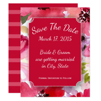 Modern Floral Red Watercolor Save The Date Cards