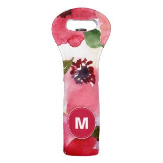 Modern Floral Red Watercolor Wine Bag
