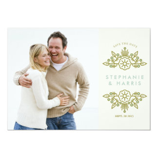 Modern Floral Save the Date // Vintage 5x7 Paper Invitation Card
