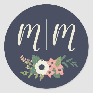 Modern Floral Sticker with Customizable Initials