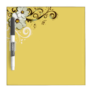 Modern Floral Swirling Curlicues buttercup yellow Dry Erase Board