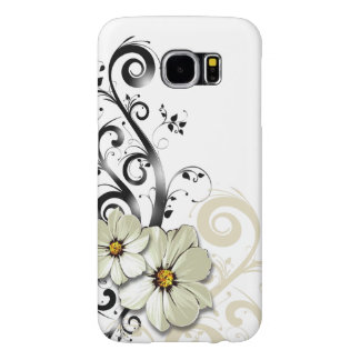 Modern Floral Swirling Curlicues | white Samsung Galaxy S6 Cases