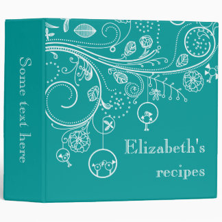 Modern floral swirls & birds teal recipe vinyl binder
