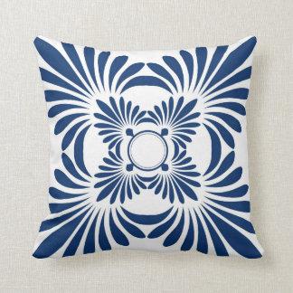 Modern Floral Throw Pillows: Blue On White Throw Pillow
