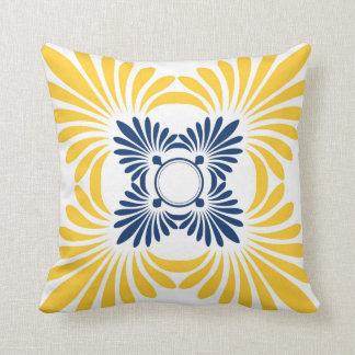 Modern Floral Throw Pillows:Blue Yellow Throw Pillow