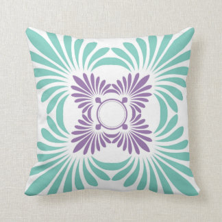 Modern Floral Throw Pillows:Purple Aqua Throw Pillow