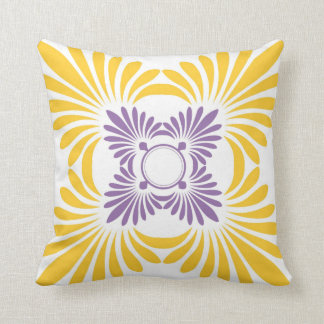 Modern Floral Throw Pillows:Purple Yellow