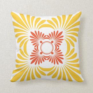 Modern Floral Throw Pillows:Red Yellow Throw Pillow