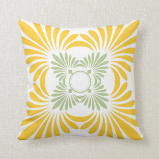 Modern Floral Throw Pillows:Yellow Green Pillows