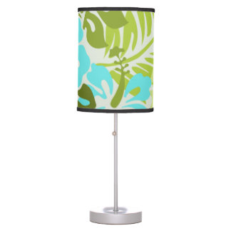 Modern floral tropical hibiscus hawaiian table lamp