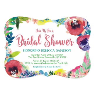 Modern Floral Water Colour Bridal Shower Card