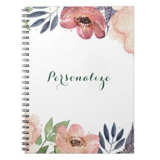 Modern Floral Watercolor Elegant Chic Custom Spiral Notebook
