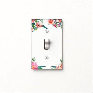 Modern Floral Watercolor Elegant Summer Tropics Light Switch Cover
