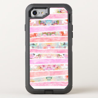 Modern floral watercolor girly pastel pink stripes OtterBox defender iPhone 8/7 case