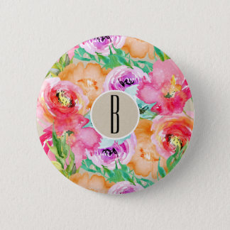 Modern Floral Watercolor Kraft Rustic Personalized 2 Inch Round Button