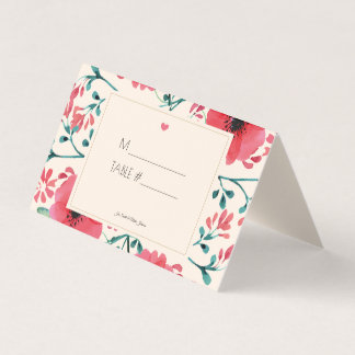 Modern Floral Watercolor Place Holder Table Number Place Card