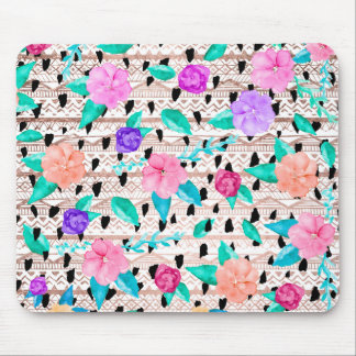 Modern floral watercolor rose gold aztec pattern mouse pad