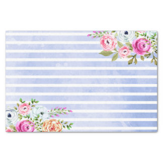 Modern Floral Watercolor Rose Navy Stripe Wedding Tissue Paper